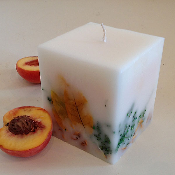 White Peach Candle 4x4.5 Square