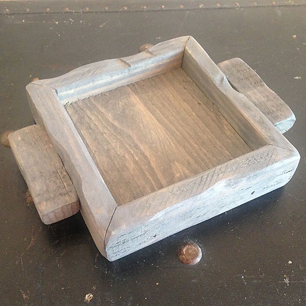 Classic grey wood candle tray 4x4