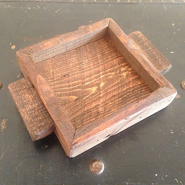 Provincial wood candle tray 4x4