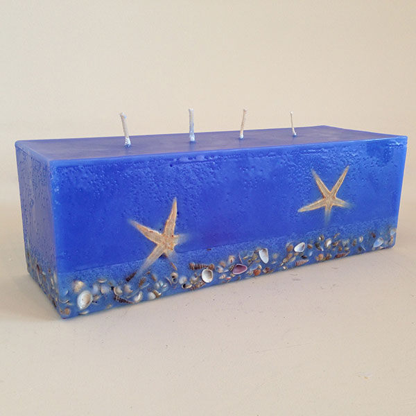 Sienna Blue scented candle 4 wick brick