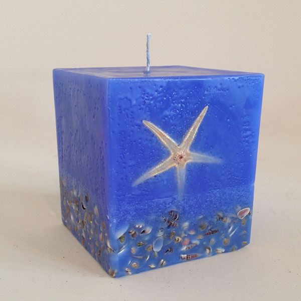 Sienna Blue scented candle 4x4.5 square