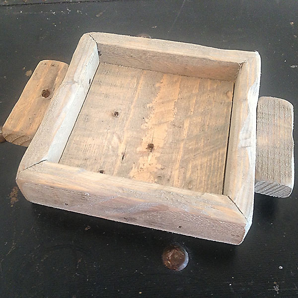 Weathered Oak wood candle tray 4x4