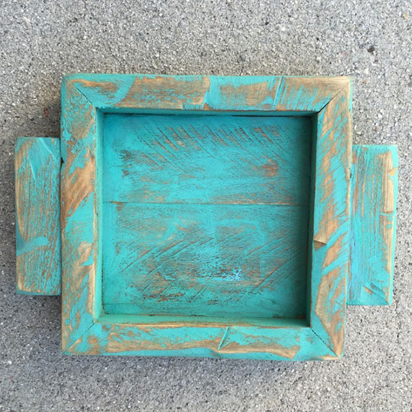 Patina Blue Green wood candle holder top view