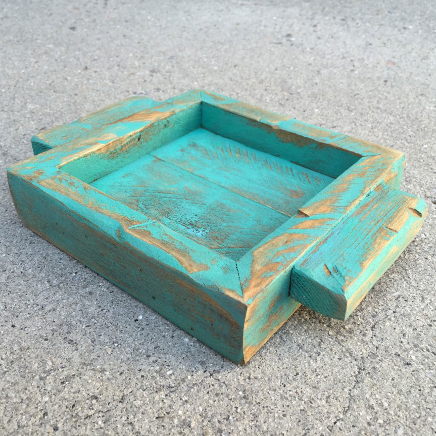 Patina Blue Green wood candle holder