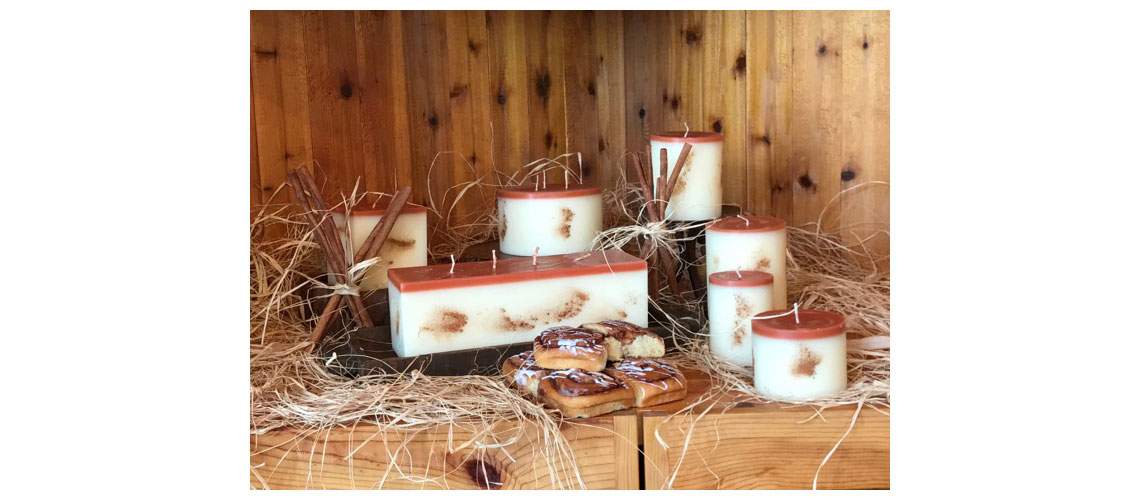 cinnamon apple bun scented candle collection