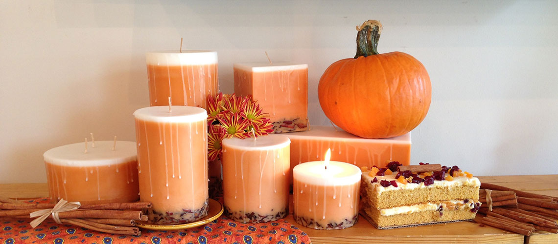 Spiced Pumpkin scented candle collection