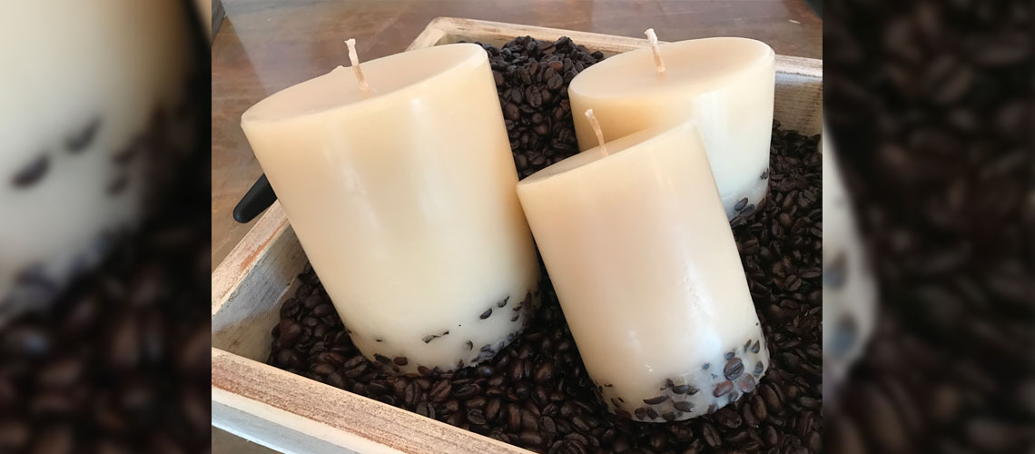 limited edition coffee bean and cream candles