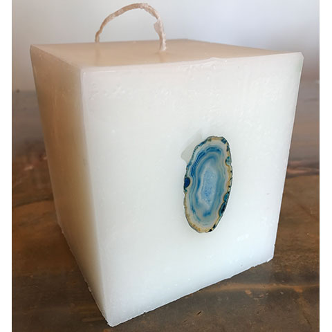 Blue Crystal Agate Candle