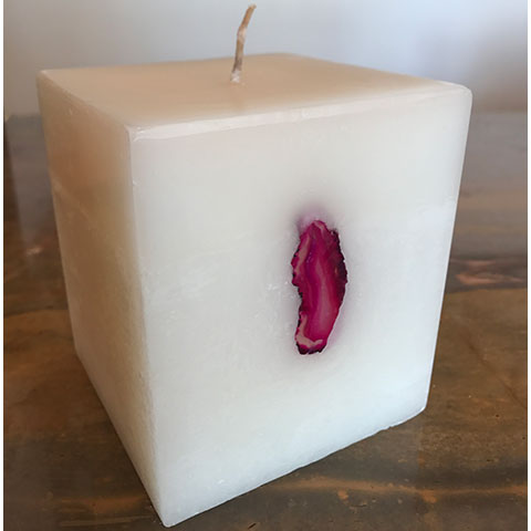 Brazilian Pink Geode Agate Candle